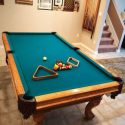 Pool Billiards Table Solid Oak Green Fabric Top (SOLD)