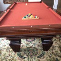 Beautiful Brunswick Orange Felt Pool Table