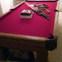 Beautiful Red Felt Olhausen Pool Table