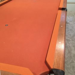 "vintage Lowe 44"" x 88"" pool table with newer felt and accessories"