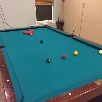 9ft Antique Brunswick Reno Snooker Table with Accessories
