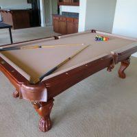 Custom Star Billards 8u0027 Slate W/ Tan Felt Pool Table With Extras