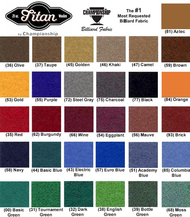 Standard Woolen Pool Table Felt Colors ...